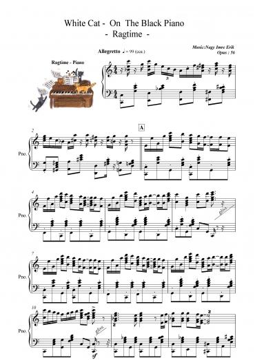 Fehér cica a fekete zongorán