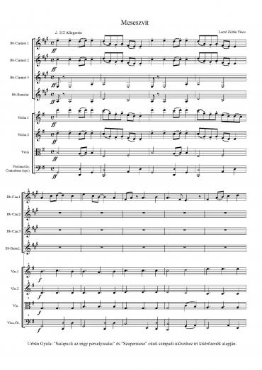 Meseszvit – partitúra