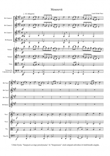 Meseszvit – partitúra és szólamok